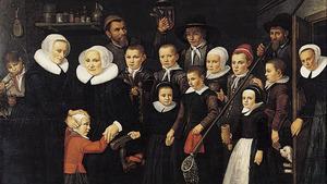 Moeders, knechten en kinderen van het Leprooshuis aan de Rotterdamse Schie bij Rotterdam