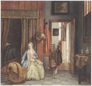 Vrouw naast wieg, zittend in een slaapkamer