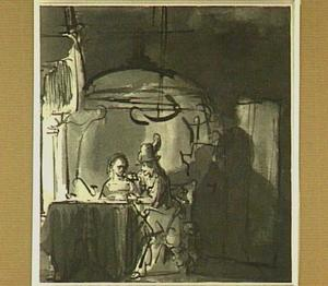 Interieur met man en vrouw bij een open haard