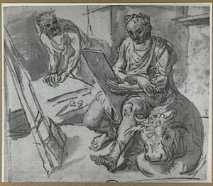 H. Lucas tekenend in zijn atelier en verfwrijver