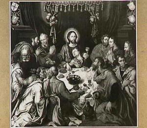 Het Laatste Avondmaal met portretten van mogelijk  Arent toe Boecop en  Egbert toe Boecop (....-1578)