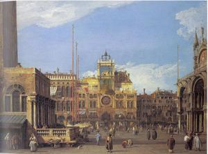 De Piazza San Marco met de Torre dell' Orologio te Venetië