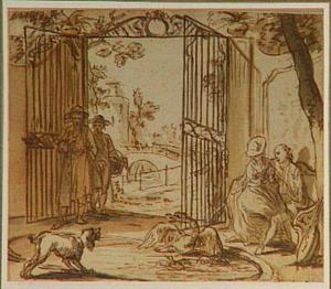 Figuren rond een vijver bij een toegangshek