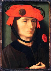 Portret van een man met een rode anjer in de hand