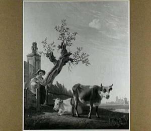Landschap met boerin en koeien, met op de achtergrond