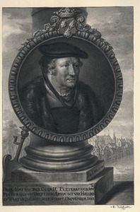 Portret van Aert van der Goes (1475-1545), met in de achtergrond het Binnenhof in Den Haag
