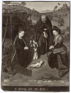De aanbidding van het Christuskind; in de achtergrond de verkondiging aan de herders
