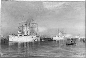 Vlootrevue op het Hollands Diep, 15 september 1898. De Nederlandse Kruiser Hr. Ms. 'Holland'