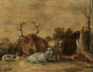 Een hert, twee geiten en enkele eenden in een landschap