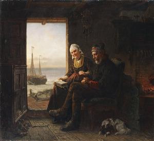 Interieur met ouder echtpaar met doorkijk op het strand