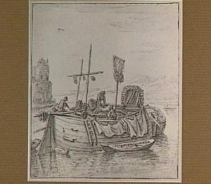 Rivierlandschap met vissersboot