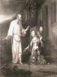 Elia ontmoet de weduwe van Sarefat, die hout sprokkelt met haar zoon, aan de stadspoort (I Koningen 17:10-11)