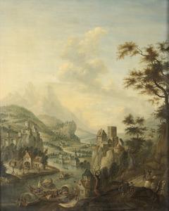 Berglandschap met boeren op een landweg nabij een kasteel