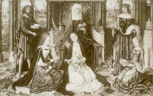 De H. Anna-te-Drieën geflankeerd door de heiligen Johannes de Doper, Lodewijk van Frankrijk, Catharina en Barbara