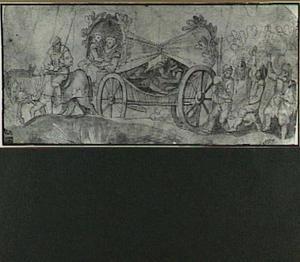 Huifkar met leifdesparen, gevolgd door dansende figuren