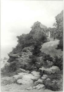 Italiaans landschap met ruïne op een heuvel ('Santa Croce')
