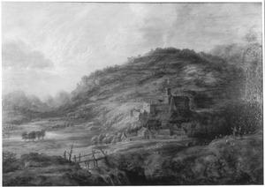 Heuvellandschap met waterval en een kasteel