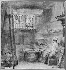 Atelier van Rembrandt met een halfnaakte zittende vrouw