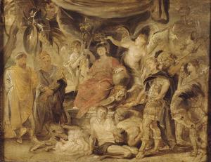 De triomf van Rome: de jonge keizer Constantijn eert Rome