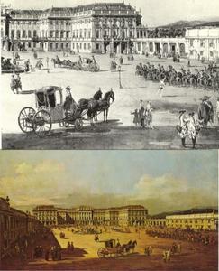 Het keizerlijk paleis Schönbrunn, gezicht op de binnenplaats