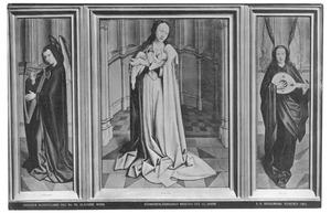 Maria met kind (midden); harpspelende engel (links); luitspelende engel (rechts)