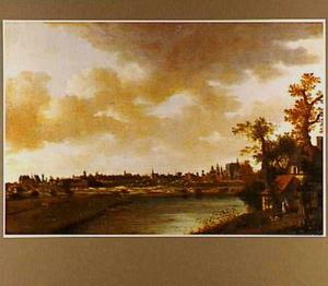 Landschap met onbekende stad op de achtergrond
