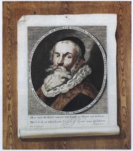 Trompe l'oeil-schildering van een opgespelde prent met het zelfportret van Hendrick Goltzius