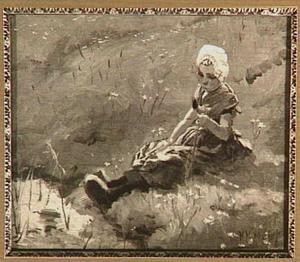 Boerenmeisje zittend aan waterkant