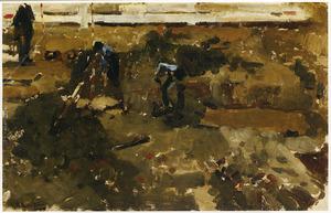 Heiwerk, figuren aan het werk op een bouwplaats