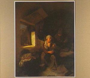Boerenfamilie in een gewelfde ruimte