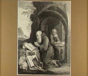 De HH Paulus de Heremiet en Antonius Abt in gebed in een grot