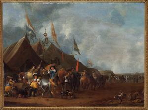Legerkamp met soldaten bij een marketentsterstent, op de achtergrond een bolwerk met soldaten bij een kanon