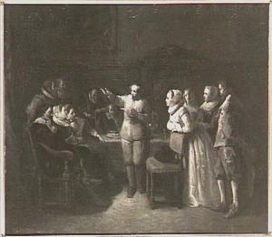 Twaalf leden van de Muiderkring rond een tafel verenigd