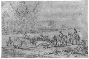 Rivierlandschap met veerboot