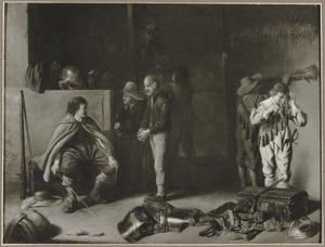 Wachtlokaal met soldaten en een smekend boerenpaar