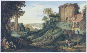 Landschap met de druivenoogst: allegorie op de herfst