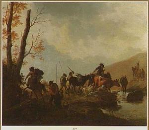 Landschap met van een rooftocht terugkerende soldaten