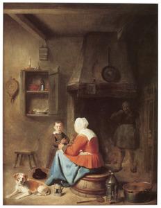 Vrouw en kind in een keukeninterieur