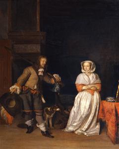 Jager en jonge vrouw in een voornaam interieur