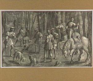 Jachtscène met keizer Maximiliaan I van Oostenrijk die een bericht ontvangt van een jager