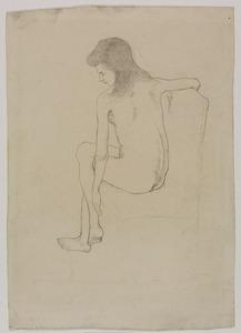 Vrouwelijk naakt, op de rug gezien, zittend op een stoel