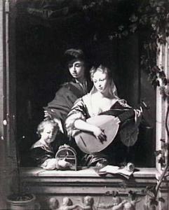 Musicerende man en vrouw met kind met vogelkooitje