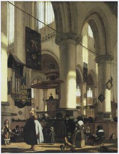 Gezicht in de Oude Kerk te Delft tijdens een dienst