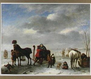 Winterlandschap met arreslee en trekpaard bij een wak in het ijs