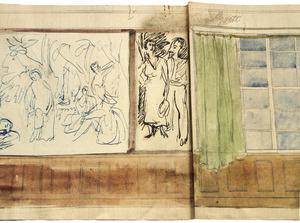 Interieurontwerp (detail): wandopstand met staand paar opschrift '....Grete', ca. 1917