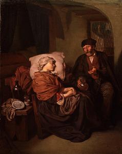 Arts en zieke vrouw in een interieur met een bedstede