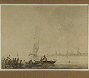 Vissers op de Lek, op de achtergrond Capelle