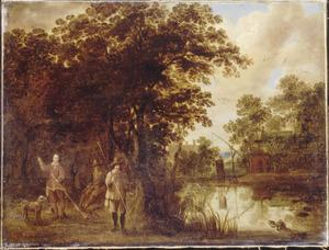 Landschap met drie jagers opeendenjacht bij een riviertje