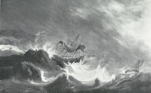 Schipbreuk van een schip op een rotsige kust in vliegende storm