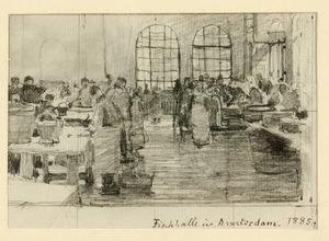 Interieur van de vishal op de Nieuwmarkt te  Amsterdam